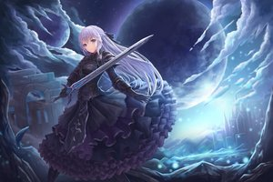Rating: Safe Score: 138 Tags: armor blue_eyes blue_hair braids building clouds dress gloves long_hair lunacle original sky sword weapon User: RyuZU