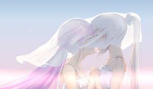 Rating: Safe Score: 84 Tags: 2girls blush close gradient gray_hair hololive jpeg_artifacts kagura_mea kagura_mea_channel kiss long_hair minato_aqua pink_hair ponytail see_through shoujo_ai yao_unripe User: RyuZU
