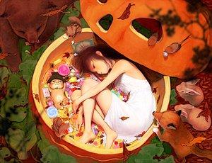 Rating: Safe Score: 117 Tags: animal barefoot bear bird brown_hair candy cat dress fox halloween original oshou_(classic1418408) pumpkin rabbit User: opai