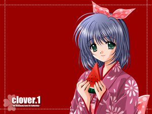 Rating: Safe Score: 5 Tags: food fruit japanese_clothes kimono nishimata_aoi red watermelon User: Oyashiro-sama
