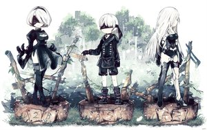 Rating: Safe Score: 75 Tags: blindfold boots breasts cleavage collar dextral dress feathers gloves headband leotard long_hair male nier nier:_automata polychromatic short_hair shorts thighhighs white_hair yorha_unit_no._2_type_a yorha_unit_no._2_type_b yorha_unit_no._9_type_s User: otaku_emmy