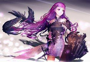 Rating: Safe Score: 179 Tags: animal armor bird dress long_hair original purple_eyes purple_hair sword weapon yasumikei User: opai