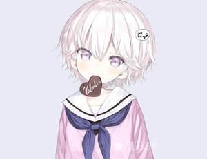 Rating: Safe Score: 65 Tags: candy capriccio cat_smile chocolate gray loli original purple_eyes school_uniform short_hair valentine watermark white_hair User: otaku_emmy