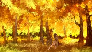 Rating: Safe Score: 199 Tags: autumn barefoot bow brown_hair forest grass hakurei_reimu japanese_clothes long_hair madcocoon miko scenic touhou tree User: Flandre93