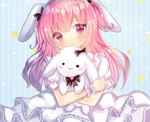 Rating: Safe Score: 23 Tags: animal_ears blush bunny bunny_ears close kohaku_muro lolita_fashion long_hair original pink_eyes pink_hair wristwear User: otaku_emmy