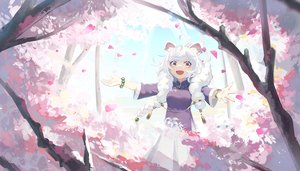 Rating: Safe Score: 30 Tags: animal_ears braids cherry_blossoms chinese_clothes flowers long_hair natori_youkai original petals pink_eyes tree twintails white_hair wristwear User: RyuZU