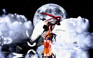 Rating: Safe Score: 18 Tags: bakuretsu_tenshi brown_hair gray_hair gun jo meg moon night weapon wings User: 秀悟