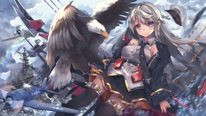 Rating: Safe Score: 47 Tags: aircraft animal anthropomorphism azur_lane bird blonde_hair blue_eyes clouds enterprise_(azur_lane) hat long_hair military skirt sky slumcat thighhighs tie User: BattlequeenYume