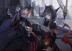 Rating: Safe Score: 82 Tags: animal_ears arknights crownslayer_(arknights) frostnova_(arknights) gloves group horns kneehighs long_hair mask mephisto_(arknights) mer open_shirt red_eyes red_hair short_hair skullshatterer_(arknights) sword tail talulah_(arknights) w_(arknights) weapon white_hair wink User: BattlequeenYume
