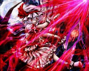 Rating: Safe Score: 63 Tags: dress hat kazabana_kazabana moon red_eyes remilia_scarlet touhou vampire weapon wings User: opai
