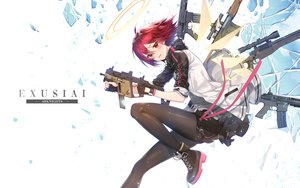 Rating: Safe Score: 48 Tags: arknights blush exusiai_(arknights) gloves gun halo milcona pantyhose red_eyes red_hair short_hair skirt weapon wings User: BattlequeenYume