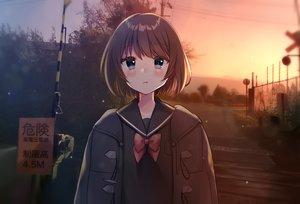 Rating: Safe Score: 4 Tags: blue_eyes blush bow brown_hair minami_saki original scenic seifuku short_hair sky sunset train tree User: otaku_emmy