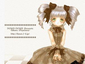 Rating: Safe Score: 15 Tags: blush bow dress gray_hair green_eyes long_hair mizusawa_hikaru tagme twintails watermark white User: Oyashiro-sama