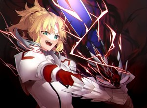 Rating: Safe Score: 34 Tags: armor blonde_hair braids citron_82 fate/apocrypha fate_(series) green_eyes magic mordred ponytail short_hair sword weapon User: RyuZU