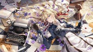 Rating: Safe Score: 101 Tags: aqua_eyes blonde_hair book braids feathers flowers long_hair neko_(yanshoujie) petals ribbons signed techgirl teddy_bear violet_evergarden violet_evergarden_(character) User: RyuZU