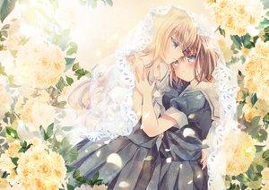 Rating: Safe Score: 42 Tags: 2girls blonde_hair blue_eyes blush brown_hair flowers hug kazuki_ryou original school_uniform shoujo_ai skirt User: RyuZU