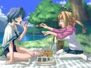 Rating: Safe Score: 10 Tags: 2girls angel_wish blue_hair brown_hair favorite game_cg kidosaki_nanami kurihira_rikka short_hair swimsuit twintails User: ホタル