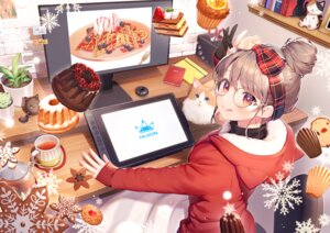 Rating: Safe Score: 26 Tags: aliasing animal blush brown_hair cake cat christmas computer drink food fruit glasses gloves headband huion momoshiki_tsubaki orange_(fruit) original red_eyes strawberry User: BattlequeenYume