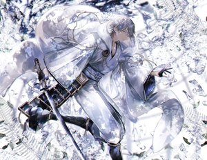 Rating: Safe Score: 43 Tags: abandon_ranka all_male anthropomorphism chain gloves gray_hair hoodie japanese_clothes katana male short_hair sword touken_ranbu tsurumaru_kuninaga water weapon yellow_eyes User: otaku_emmy
