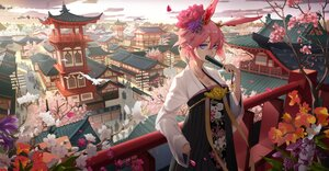 Rating: Safe Score: 38 Tags: animal_ears blue_eyes breasts building cherry_blossoms chinese_clothes city cleavage fan flowers honkai_impact pink_hair sky yae_sakura zdo-zwei User: BattlequeenYume