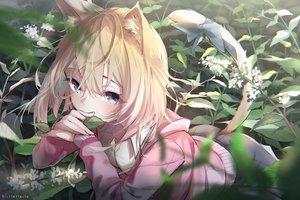 Rating: Safe Score: 127 Tags: animal_ears biittertaste catgirl flowers hoodie original school_uniform tail watermark User: BattlequeenYume
