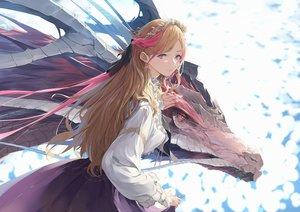 Rating: Safe Score: 81 Tags: blonde_hair dragon headdress long_hair original red_eyes shirt skirt somehira_katsu User: BattlequeenYume