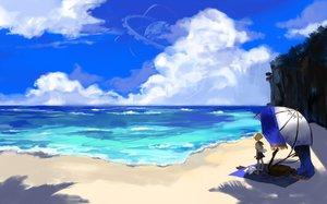 Rating: Safe Score: 55 Tags: barefoot beach blonde_hair clouds kyouichi original school_uniform sky umbrella water User: STORM