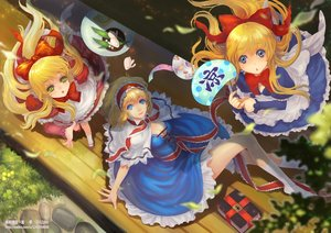 Rating: Safe Score: 87 Tags: alice_margatroid aqua_eyes blonde_hair blue_eyes book bow breasts cleavage doll dress drink fan food grass green_eyes headband hourai kneehighs leaves long_hair ponytail ribbons shanghai_doll short_hair teddy_yang touhou watermark User: Flandre93
