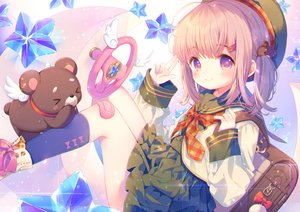 Rating: Safe Score: 77 Tags: bandaid hat kneehighs kurokuma_(kuro_kumagaya) loli original pink_eyes pink_hair ponytail school_uniform short_hair skirt stars teddy_bear User: otaku_emmy
