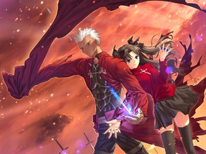 Rating: Safe Score: 10 Tags: archer black_hair blue_eyes dark_skin fate_(series) fate/stay_night gray_eyes male skirt sword thighhighs tohsaka_rin twintails weapon white_hair User: Oyashiro-sama