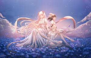 Rating: Safe Score: 44 Tags: aliasing arknights clouds dress flowers horns ifrit_(arknights) kinom long_hair saria_(arknights) silence_(arknights) sky white_hair User: BattlequeenYume