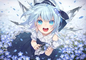 Rating: Safe Score: 108 Tags: aqua_eyes aqua_hair bow cirno dress fairy flowers loli short_hair signed summer_dress touhou toutenkou wings User: BattlequeenYume