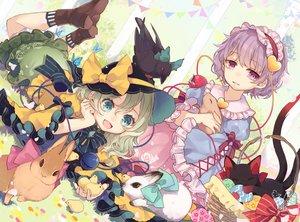 Rating: Safe Score: 55 Tags: 2girls animal bird cat kaenbyou_rin komeiji_koishi komeiji_satori rabbit reiuji_utsuho signed touhou toutenkou User: Fepple
