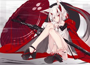 Rating: Safe Score: 162 Tags: animal_ears barefoot blood horns nagishiro_mito original red_eyes short_hair sword umbrella weapon white_hair User: RyuZU