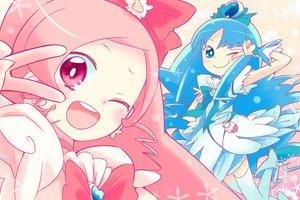 Rating: Safe Score: 30 Tags: 2girls blue_eyes blue_hair futari_wa_precure hanasaki_tsubomi heartcatch_precure! kurumi_erika mizu_asato pink_eyes pink_hair precure wink User: w7382001