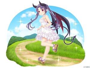 Rating: Safe Score: 12 Tags: blush choker clouds dress grass headband horns long_hair monmusu_harem namaru_(summer_dandy) purple_hair red_eyes richelle_(monmusu_harem) skirt_lift sky summer_dress tail twintails wings User: otaku_emmy