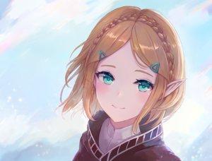 Rating: Safe Score: 127 Tags: blonde_hair braids close clouds green_eyes leonmandala pointed_ears princess_zelda short_hair sky the_legend_of_zelda User: otaku_emmy