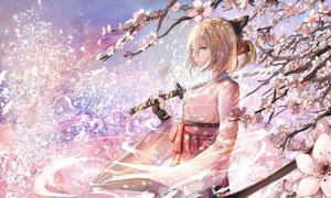 Rating: Safe Score: 177 Tags: blonde_hair bow cherry_blossoms fate/grand_order fate_(series) fate/stay_night flowers gloves japanese_clothes jpeg_artifacts katana okita_souji_(fate) petals short_hair sishenfan sword tree weapon User: Flandre93