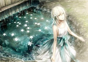 Rating: Safe Score: 257 Tags: blonde_hair dress flowers kazari_tayu nier ribbons water yonah User: opai