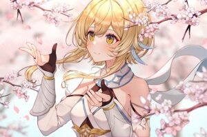 Rating: Safe Score: 58 Tags: aliasing blonde_hair cherry_blossoms close flowers genshin_impact gloves lumine_(genshin_impact) usamochi yellow_eyes User: BattlequeenYume
