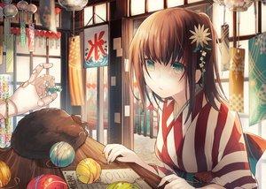 Rating: Safe Score: 89 Tags: animal brown_hair candy cat flowers green_eyes japanese_clothes kazutake_hazano original User: reyaes