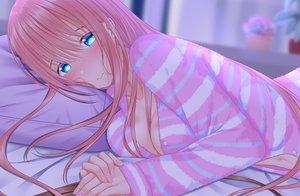 Rating: Safe Score: 17 Tags: aqua_eyes bed blush breasts cleavage long_hair naginagiwaffle original pajamas pink_hair User: RyuZU