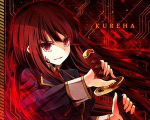 Rating: Safe Score: 31 Tags: akine_(kuroyuri) beatmania brown_hair cropped kureha_(sound_voltex) long_hair red_eyes sound_voltex sword weapon User: RyuZU