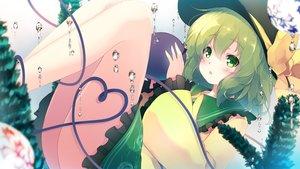 Rating: Safe Score: 49 Tags: blush bow bubbles gengetsu_chihiro green_eyes green_hair hat komeiji_koishi short_hair touhou underwater water User: RyuZU