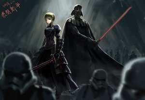 Rating: Safe Score: 160 Tags: artoria_pendragon_(all) crossover dark darth_vader fate_(series) fate/stay_night gray polychromatic saber signed star_wars User: luckyluna