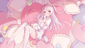 Rating: Safe Score: 122 Tags: bandage breasts candy cleavage dress elbow_gloves food fruit gloves ice_cream_mad_labo lollipop long_hair madoromi_more pink_eyes ramunezake thighhighs tiara twintails white_hair User: BattlequeenYume