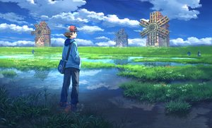 Rating: Safe Score: 37 Tags: all_male clouds grass male palpitoad pippi_(p3i2) pokemon rain reflection scenic sky touya_(pokemon) water windmill User: FormX