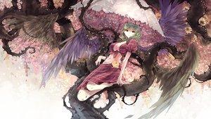 Rating: Safe Score: 147 Tags: breasts cleavage flowers green_hair kazami_yuuka kieta short_hair skirt touhou tree umbrella wings User: opai