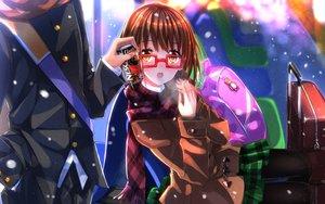 Rating: Safe Score: 116 Tags: brown_hair drink glasses miho_(cross_road) school_uniform shouta snow swordsouls z-kai:_cross_road User: opai
