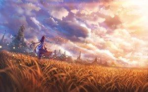 Rating: Safe Score: 82 Tags: bou_nin braids clouds dress grass landscape original scenic twintails User: RyuZU
